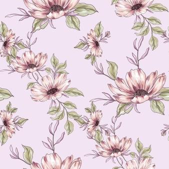 Beautiful pink wild flowers pattern