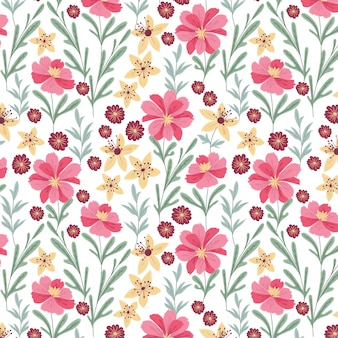 Beautiful pink and yellow flower pattern