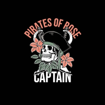 Beautiful pirates skull and flower premium vector template