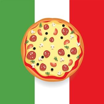 イタリアの旗とフラットなデザインで描かれた美しいピザ