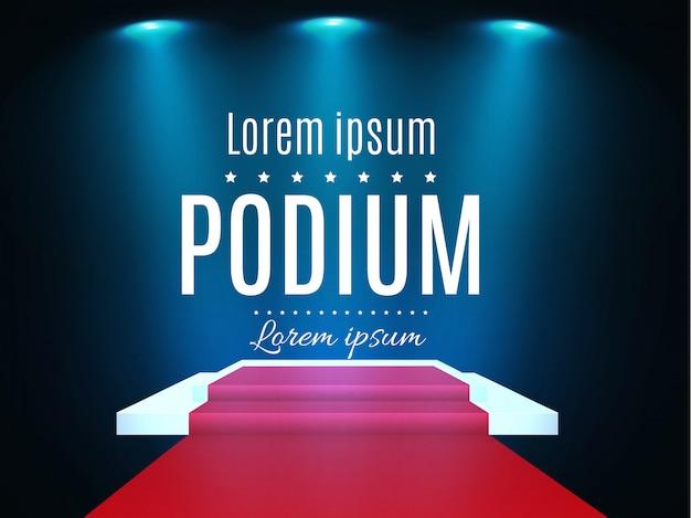 Beautiful podium on dark background with inscription.podium winners with bright lights.spotlight.lighting. illustration.