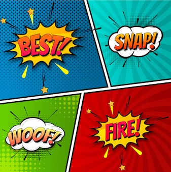 Beautiful pop art colorful comic book template