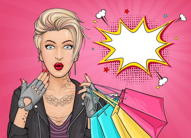 Beautiful pop art illustration of a surprised tattooed woman holding shopping bags
