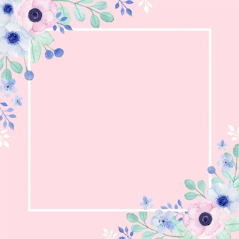 Beautiful poppy anemone border and frame with pink