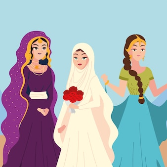 Beautiful portrait arab brides