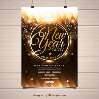 Beautiful poster for new year's party with golden fireworks