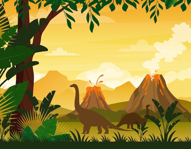 Beautiful prehistoric landscape and dinosaurs. tropical trees and plants, mountains with volcano in flat cartoon style.