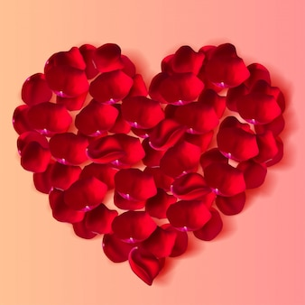 Beautiful premium illustration of congratulations on valentine's day. top view of a heart made from realistic rose petals. vector illustration.