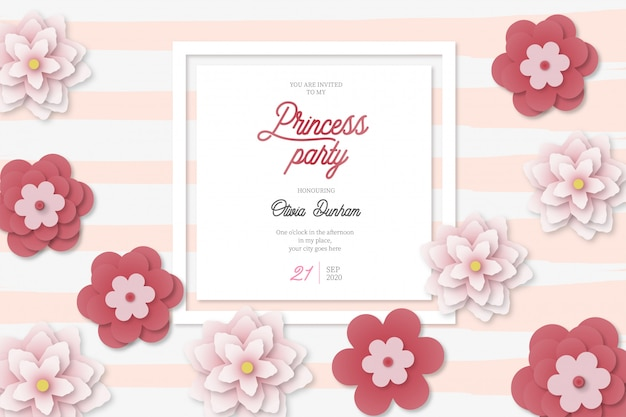 Beautiful princess party card background with flowers