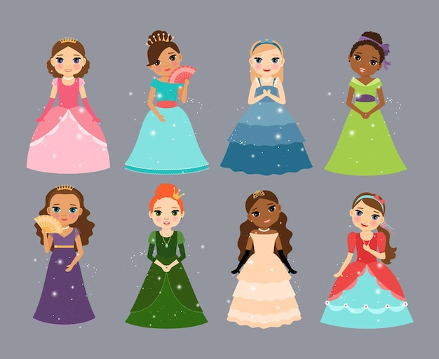 Beautiful princesses. cute little fairy or queen characters vector illustration set