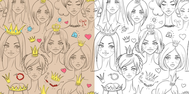 Beautiful princesses seamless pattern set