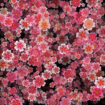 Beautiful print with blossoming dark and light pink sakura flowers