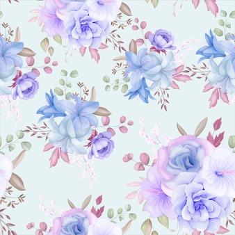 아름다운 보라색과 파란색 꽃과 잎 원활한 패턴 디자인