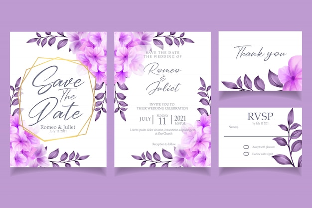 Beautiful purple blossom flower watercolor invitation wedding party