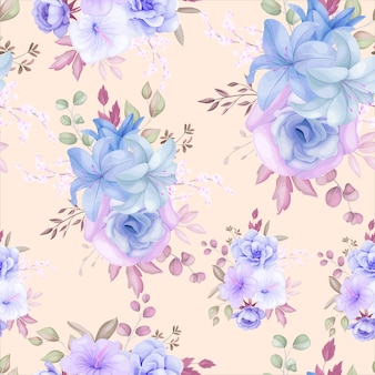 Beautiful purple and blue floral and leaves seamless pattern design