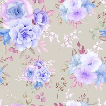 Bellissimo motivo floreale viola e blu e foglie senza cuciture