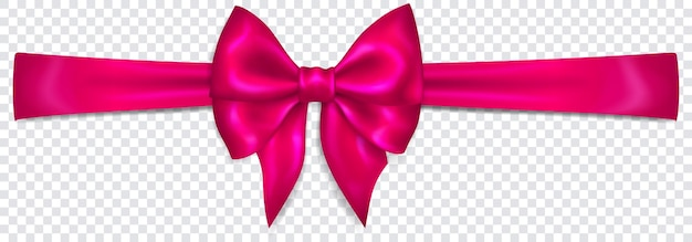Beautiful purple bow with horizontal ribbon with shadow on transparent background. transparency only in vector format