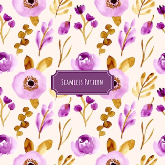 Beautiful purple brown floral watercolor seamless pattern