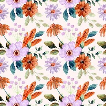Beautiful purple brown flower watercolor seamless pattern