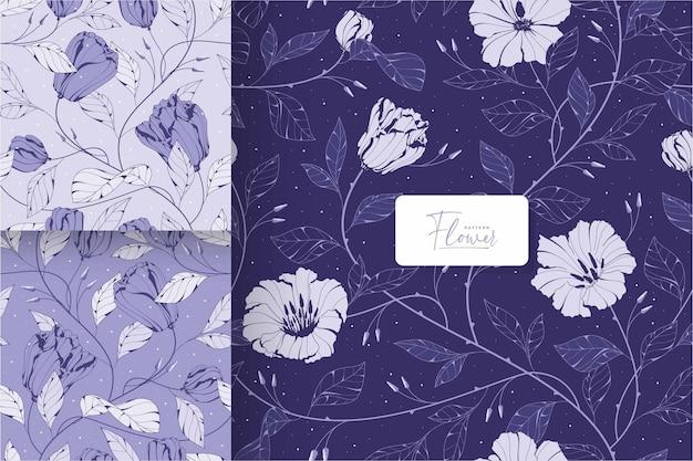美しい紫色の花柄のテンプレート