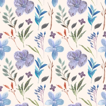 美しい紫色の花の水彩画のシームレスパターン