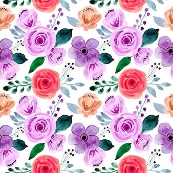 Beautiful purple flower watercolor seamless pattern