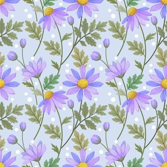 美しい紫色の花のシームレスなパターン。このパターンは、ファブリックテキスタイルの壁紙に使用できます。