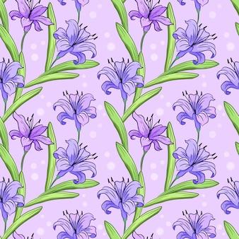 美しい紫色のユリの花と緑の葉のシームレスなパターン。