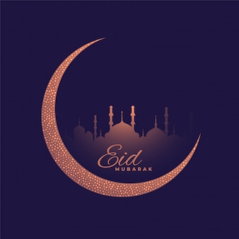 Beautiful purple moon and mosque eid festival greeting