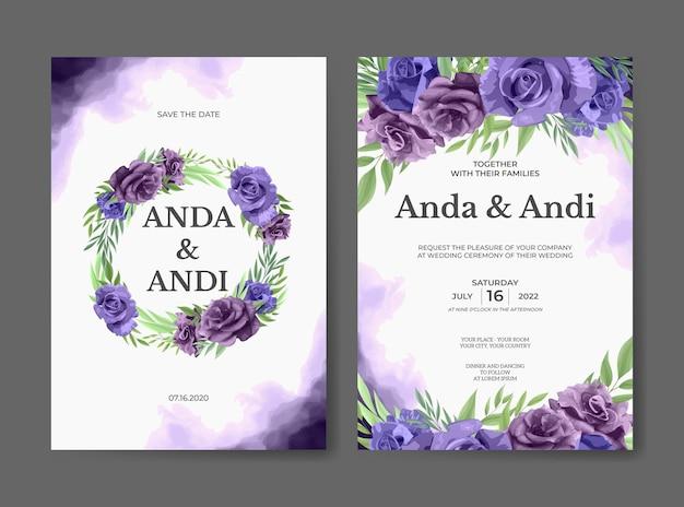 Шаблон свадебного приглашения красивая фиолетовая роза