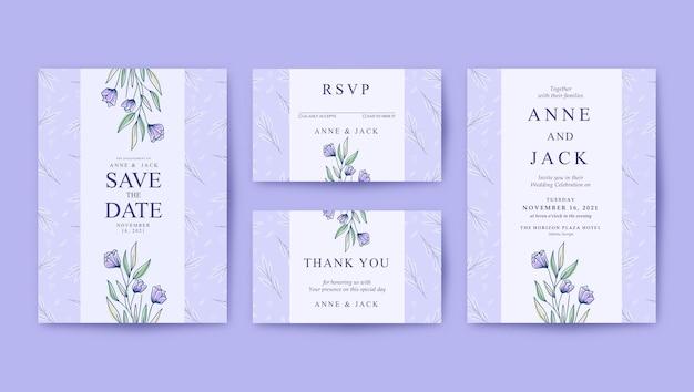 Красивый фиолетовый шаблон свадебного приглашения с минималистским рисунком
