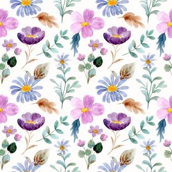 Beautiful purple wild floral watercolor seamless pattern