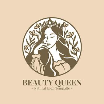 Красивая королева женщин естественный логотип шаблон