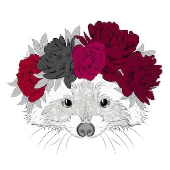Beautiful raccoon in a wreath