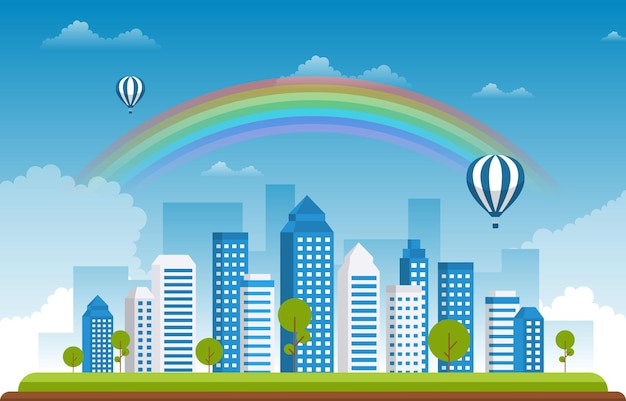 Красивая радуга город летний городской пейзаж иллюстрация Premium векторы