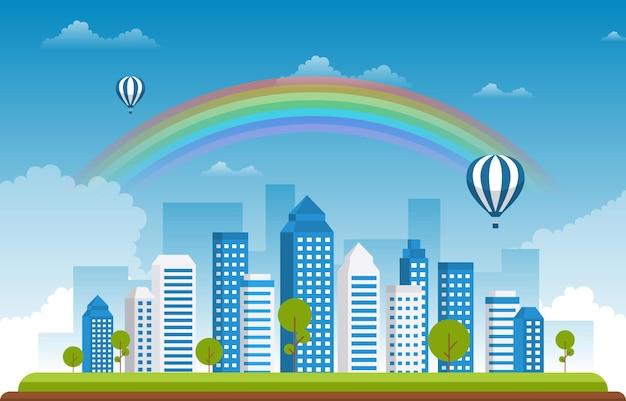 Beautiful rainbow city summer cityscape landscape illustration