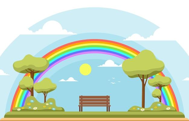 公園の美しい虹夏の自然風景イラスト