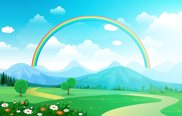 Beautiful rainbow sky with green meadow mountain nature