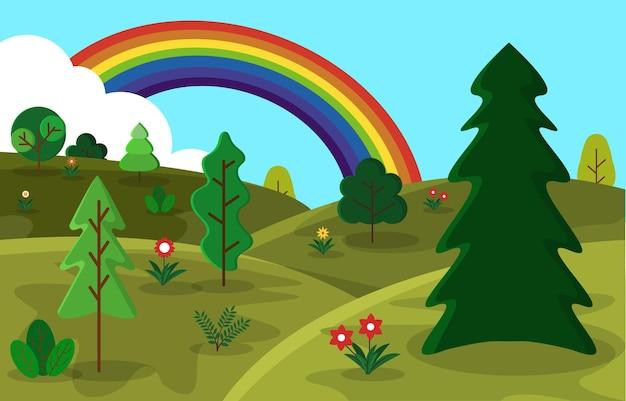美しいレインボーサマーヒルズメドウ自然景観イラスト