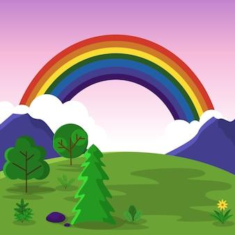 Beautiful rainbow summer mountain meadow nature landscape illustration