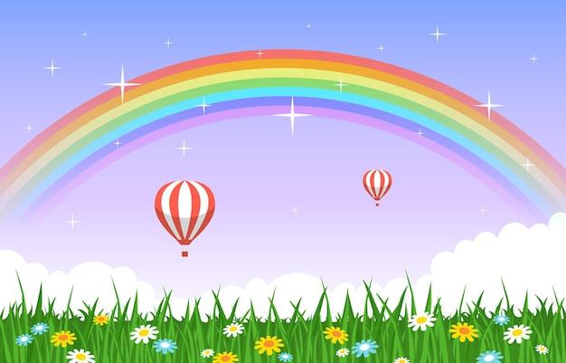 Beautiful rainbow in summer nature landscape scenery illustration