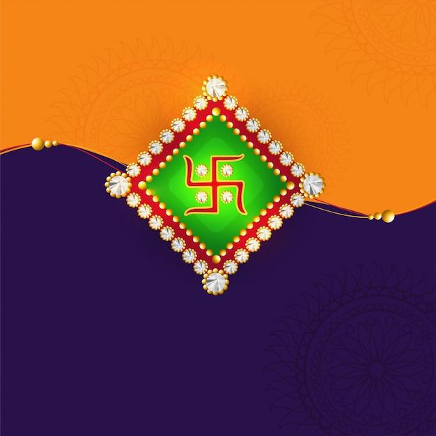 オレンジと紫の背景に美しいrakhi、raksha bandhanのお祝いのためのエレガントなグリーティングカードのデザイン。
