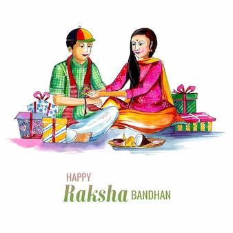 아름다운 raksha bandhan 축하 카드 디자인
