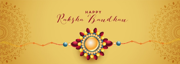 Beautiful raksha bandhan rakhi festival golden banner