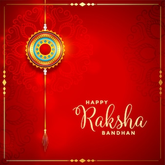 Beautiful raksha bandhan red festival card