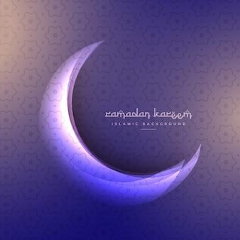 Красивый рамадан фестиваль луны на фиолетовом фоне