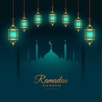 Beautiful ramadan kareem background with glowing islamic lanterns
