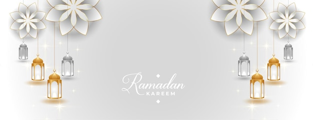 Beautiful ramadan kareem banner in arabic islamic style