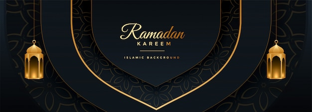 Beautiful ramadan kareem black and gold banner design