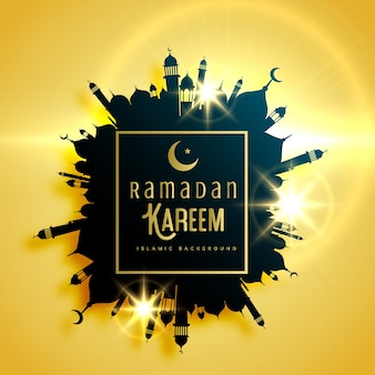 Красивый рамадан карим приветствие дизайн карты с рамой, сделанные с мечетью